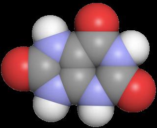 요산의 분자구조. 퓨린의 최종 대사산물인 요산은 오줌을 통해 배출되는데, 소독약인 염소와 만날 경우 질소계 소독부산물이 만들어지고 특히 몸에 해로운 염화시안이 주로 만들어지는 것으로 밝혀졌다. 분자 가운데 파란색이 질소원자다(회색이 탄소, 빨간색이 산소, 흰색이 수소원자) - 위키미디어 제공